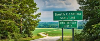 Die Staatsgrenze von South Carolina, dem wichtigen Vorwahlstaat und Tür zu den Südstaaten.