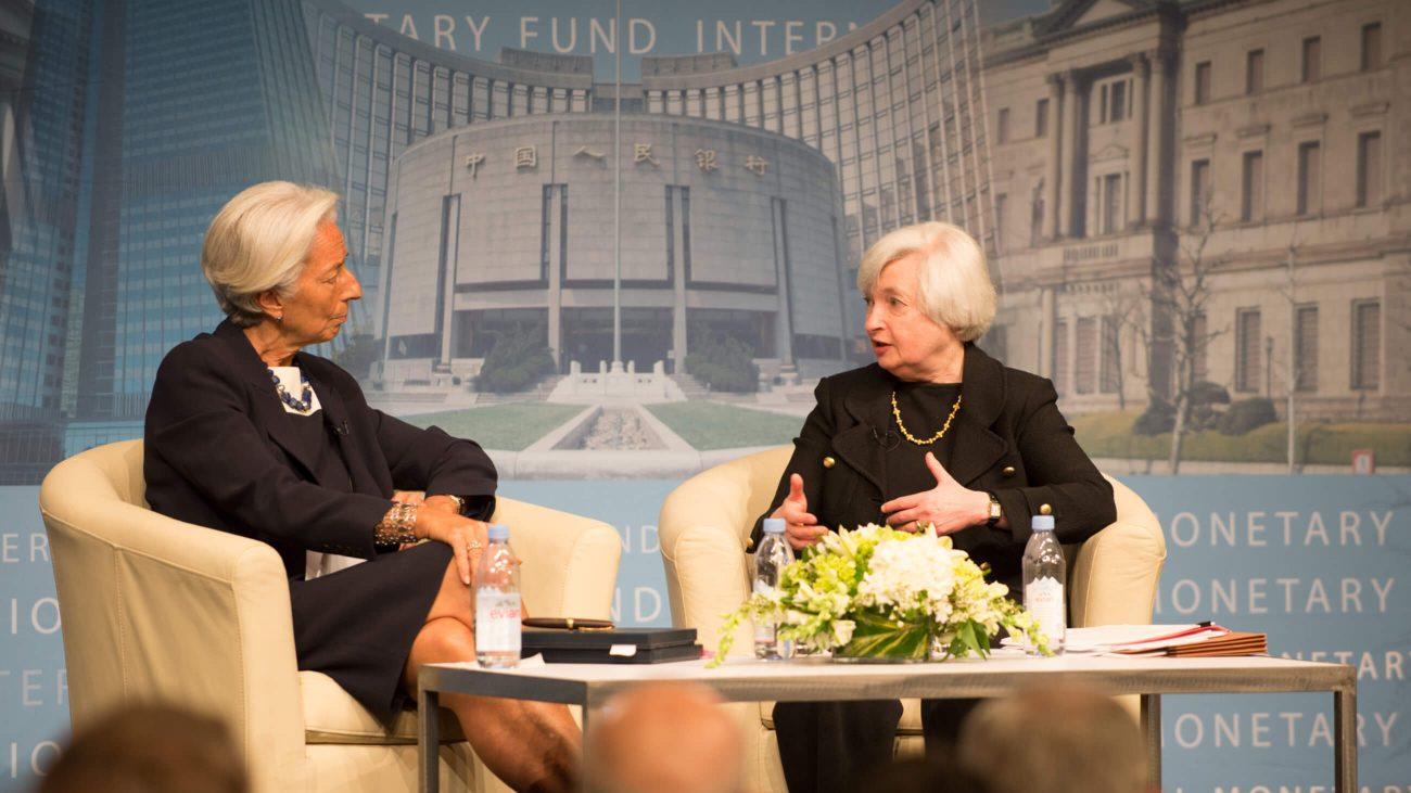 Janet Yellen (rechts) in einem Gespräch mit Christine Lagarde.