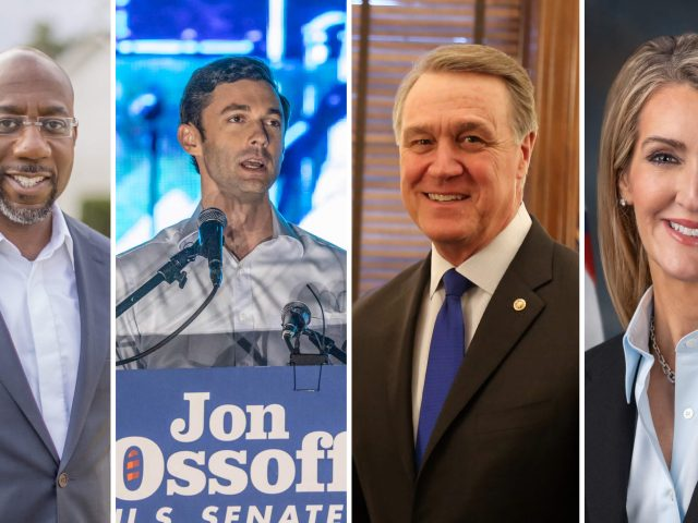 Die demokratischen Kandidaten Raphael Warnock und Jon Ossoff (v.l.n.r.) wollen bei der Stichwahl die republikanischen Amtsinhaber:innen David Perdue (3.v.l.) und Kelly Loeffler (4.v.l.) besiegen.