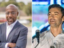 Die Demokraten Raphael Warnoch und Jon Ossoff (v.l.n.r.) haben die beiden Senatsstichwahlen in Georgia gewonnen.