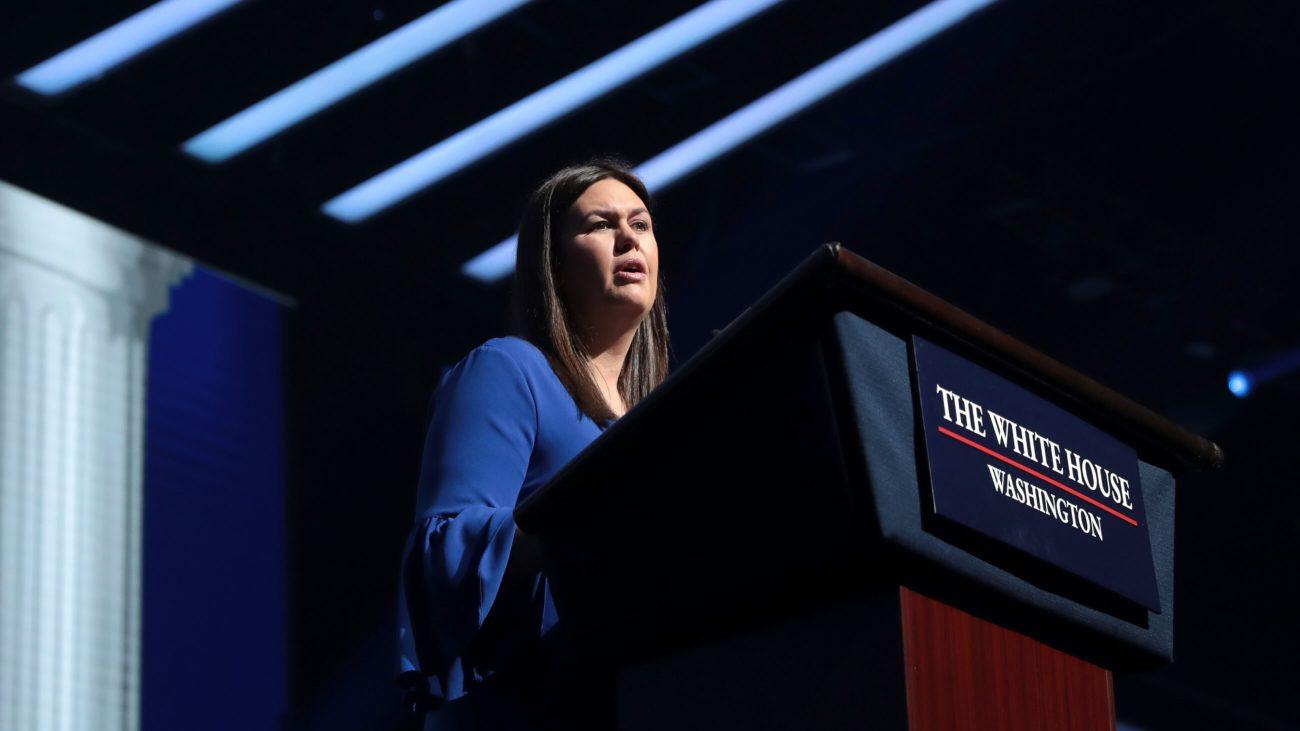 Sarah Huckabee Sanders bei einer Konferenz in Florida 2019.