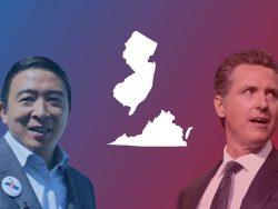 Andrew Yang (v.l.) will New Yorks nächster Bürgermeister werden und der Demokrat Gavin Newsom muss in Kalifornien um sein Gouverneursamt bangen.