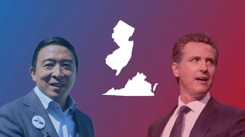 Andrew Yang (v.l.) will New Yorks nächste Bürgermeister werden und der Demokrat Gavin Newsom muss in Kalifornien um sein Gouverneursamt bangen.
