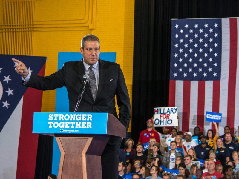 Tim Ryan bei einer Wahlkampfveranstaltung für Hillary Clintons Präsidentschaftskampagne 2016 in Ohio.